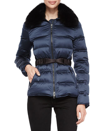 Redbourn Satin Puffer Short Coat