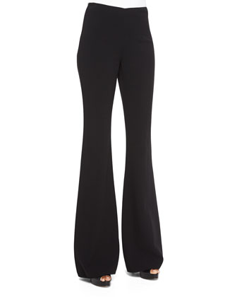High-Waist Flared Wool Pants, Black