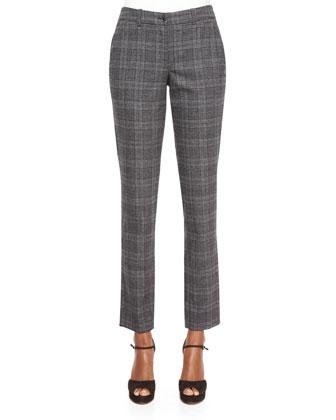 Half-Sleeve Cashmere Turtleneck Sweater & Slim-Leg Plaid Flannel Pants