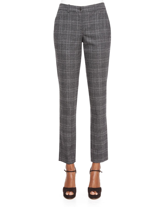 Slim-Leg Plaid Flannel Pants, Slate Multi, Women's, Size: 0 - Michael Kors Collection