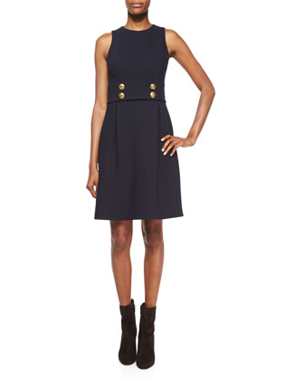 Sleeveless Knot-Button Dress, Navy