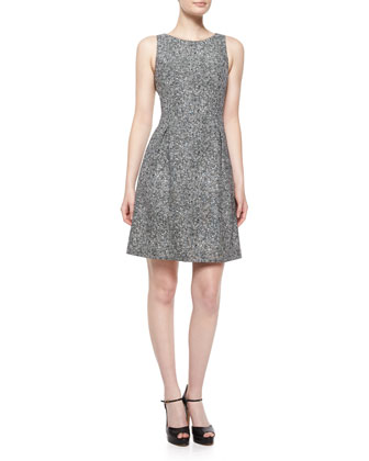 Sleeveless Tweed Bell Dress, Black/White