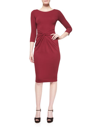 3/4-Sleeve Twist-Front Sheath Dress, Claret