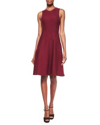 Sleeveless Princess-Seam Dress, Claret