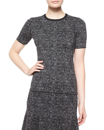 Short-Sleeve Jewel-Neck Tweed Top, Charcoal Melange