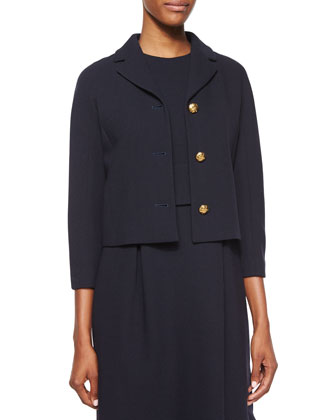 3/4-Sleeve Knot-Button Jacket & Dress