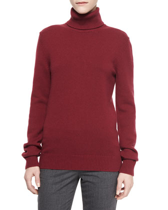Long-Sleeve Cashmere Turtleneck Sweater & Skinny Woven Ankle Pants