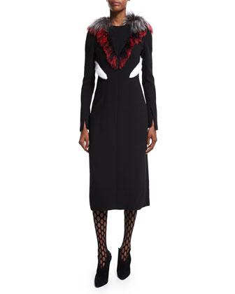 Long-Sleeve Fur-Trim Dress, Black