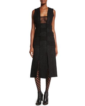 Sleeveless Textured-Panel Dress, Black