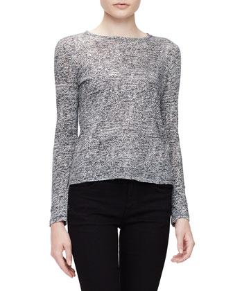 Tissue Needle-Punch T-Shirt, Off White/Black Static