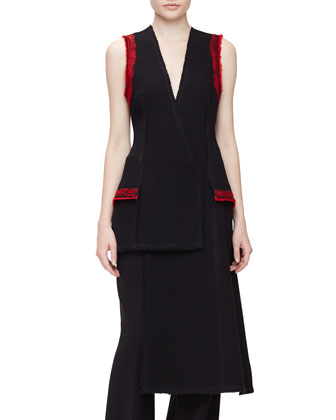 Sleeveless Needle-Punch Vest & High-Waist Wide-Leg Pants