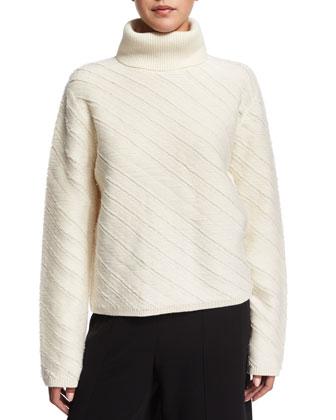 Turtle-Neck Floating-Fringe Sweater, Off White