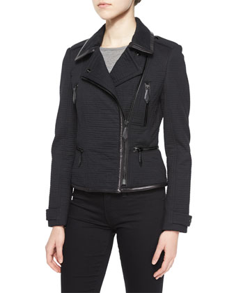 Textured Cotton Biker Jacket