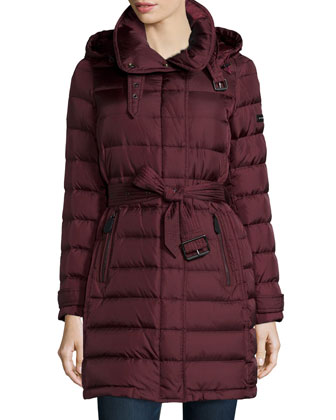 Winterleigh Removable-Hood Mid-Length Puffer Coat