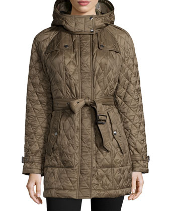 Finsbridge Hooded Quilted Jacket, Olive