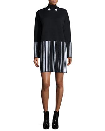 Long-Sleeve Striped Sheath Dress, Black