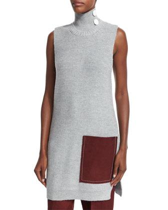 Sleeveless Ribbed Tunic W/Contrast Pocket, Light Gray