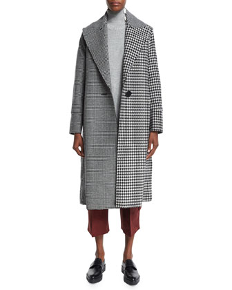 Raw-Edge Plaid & Houndstooth Long Coat, Sleeveless Ribbed Tunic W/Contrast ...
