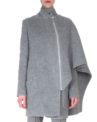 Asymmetric Draped Cape Jacket, Sheer-Seam Cashmere-Blend Top & Melissa ...