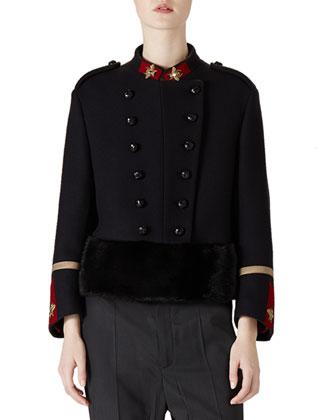 Cropped Wool Felt Jacket With Mink & Stretch Wool Menswear Pant