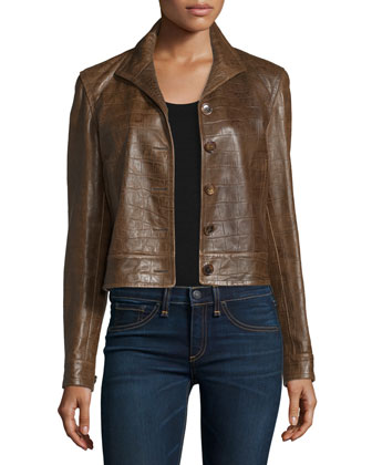 Crocodile-Embossed Leather Jacket, Chestnut Brown