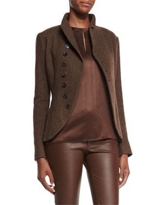 Long-Sleeve Horn-Button Jacket, Warm Honey/Dark Brown