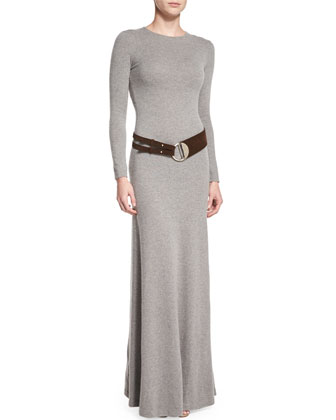 Long-Sleeve Cashmere Dress, Medium Gray Melange