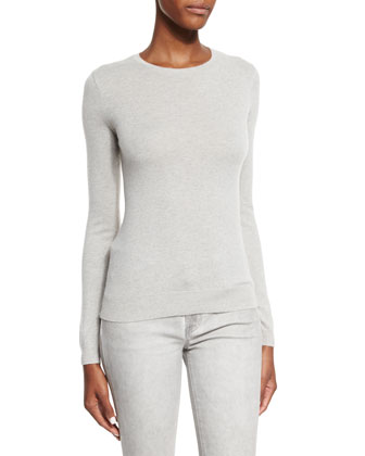 Long-Sleeve Cashmere Sweater, Light Gray Melange