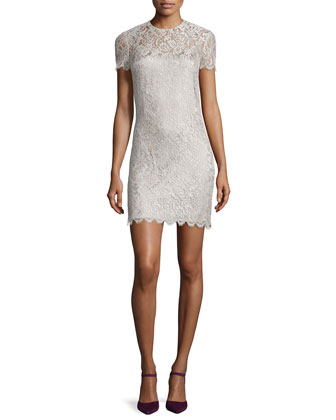 Pacey Lace Shift Dress, Pearly Gray