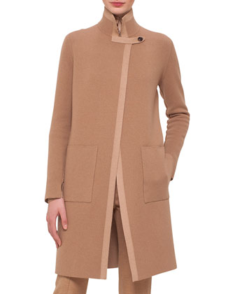 Reversible Contrast-Trimmed Cashmere Coat & Melissa Stretch Flannel Pleated ...