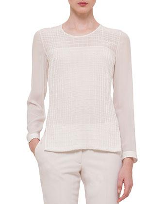 Cross-Stitch Long-Sleeve Blouse, Off White