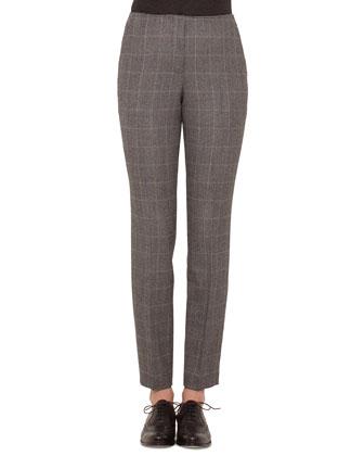 Frank Check Slim-Leg Pants, Granite