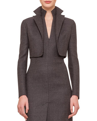 Glen Plaid Notched Bolero & Glen Plaid Zip-Front Sheath Dress
