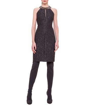Sleeveless Brass-Collar Dress, Black