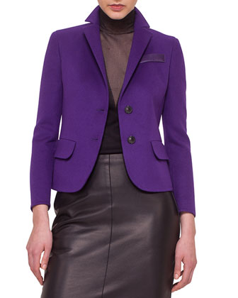Double-Faced Cashmere Blazer, Sleeveless Sheer-Inset Pullover Top & Napa ...