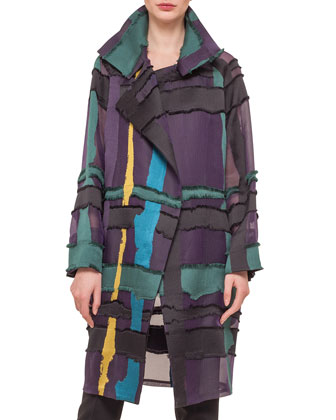 Glen Plaid & Fringed Satin Jacquard Coat, Stretch-Silk Jersey Scoop-Neck ...