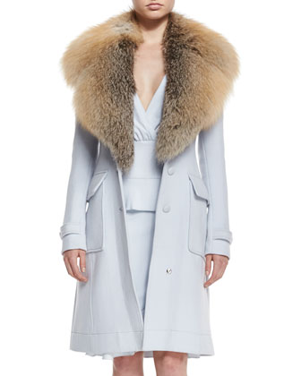 Fox-Fur Collar Wool-Blend Coat & Ruffled Peplum Slit Dress