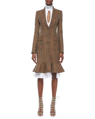 Plaid Peaked-Lapel Ruffle-Hem Coat & Lace Slit Ruffle-Collar Sheath Dress