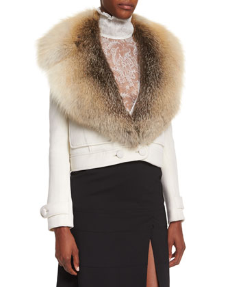 Gray Fox-Fur Collar Crop Jacket
