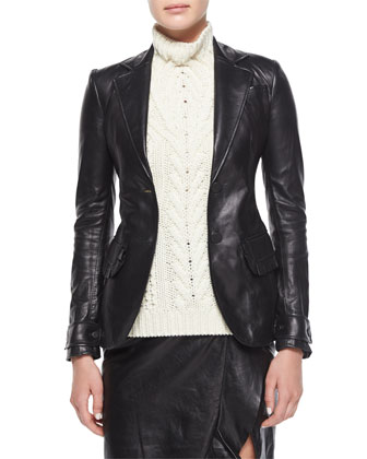 Ruffle-Pocket Leather Blazer