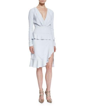 Fox-Fur Collar Wool-Blend Coat & Ruffled Peplum Slit Dress