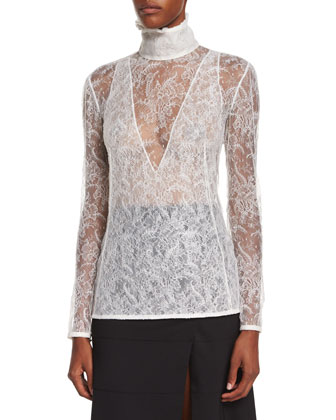 Gray Fox-Fur Collar Crop Jacket, High-Neck Sheer Lace Blouse & Paneled ...
