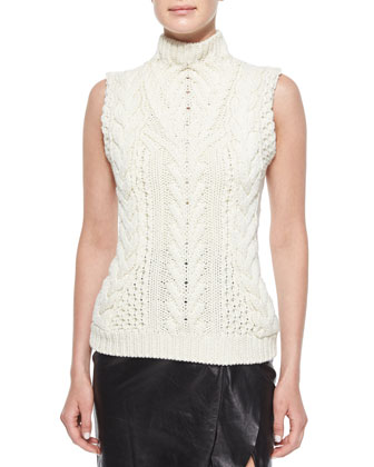 Ruffle-Pocket Leather Blazer, Sleeveless Cable-Knit Sweater & Leather ...
