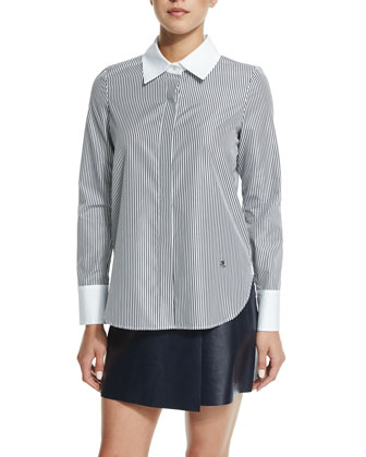 Long-Sleeve Button-Front Shirt, Black/White