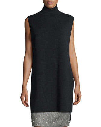 Sleeveless Double-Faced Turtleneck Tunic & Pearly Studded Pencil Skirt