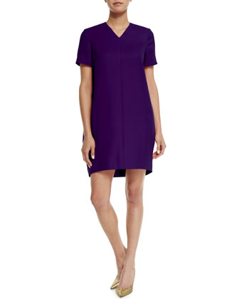 V-Neck Balloon Mini Dress, Ultra Violet