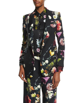 Floral-Print Twill Jacket, Floral-Print Silk Button-Up Blouse & ...