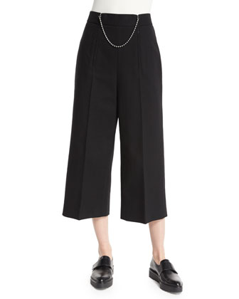 High-Waist Ball-&-Chain Cropped Pants, Black