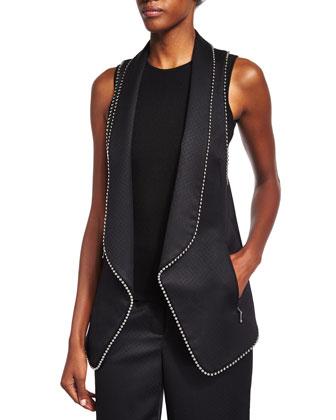 Ball & Chain Trim Long Vest, Black
