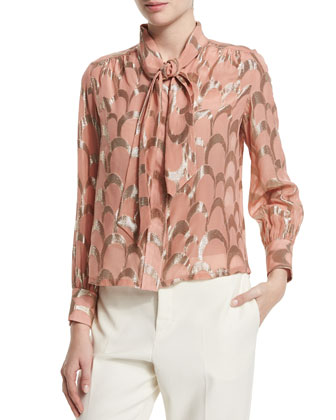Wide Shawl-Collar Jacket, Long-Sleeve Metallic-Applique Blouse & Flat-Front ...